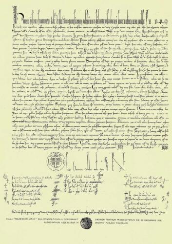 """Bula """"Religiosam Vitam"""" del Papa Honorio III, fechada en Roma el día 22 de diciembre de 1216 por la que se confirmó la Orden de Predicadores"""